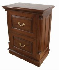 STANDARD 2 Drawer Mahogany Filing Cabinet with brass handles CHT023S