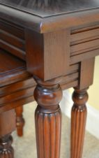 Mahogany Nest of Tables with pillar detail T061