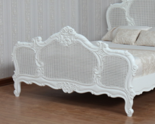 CLEARANCE - French Arch Rattan Bed (Antique White) B006P