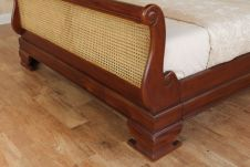 Mahogany French Rattan Sleigh Bed B012