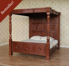 Carved Four Poster Bed B045