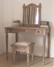 Belle French Weathered Dressing Table with Mirror