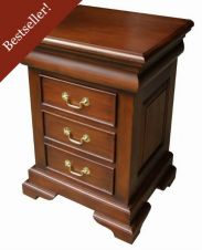 French Sleigh Bedside Table 3 drawer BS001