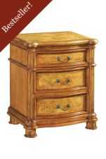 Hampton 3 Drawer Walnut Bedside