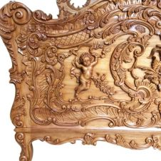 French Cherub Solid Mahogany Bed (Light Wax)