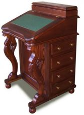 Mahogany Davenport Desk with green leather top DSK009G