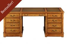 Hampton Walnut Pedestal Desk with inlaid leather top (Extra Large)