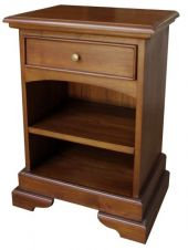 CLEARANCE French Sleigh Bedside Table 1 drawer BS002