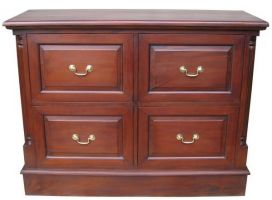 4 drawer mahogany filing cabinet low CHT066LOW