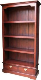 Solid Mahogany 2 Drawer Bookcase BCS017