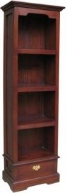 Solid Mahogany Narrow 1 Drawer Bookcase BCS016