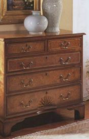 English Walnut Chest of Drawers honeycomb marquetry top