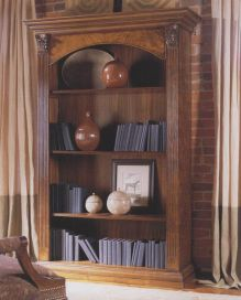 Wakefield single walnut bookcase fluted columns