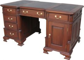 Medium Mahogany Partners Desk with leather top DSK001M