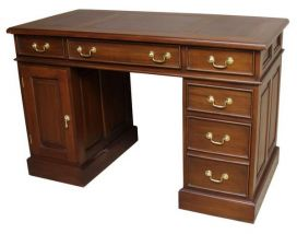 Small Mahogany Computer Desk with leather top and brass handles DSK019