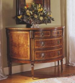 Demi Lune Walnut Chest- Marquetry Top