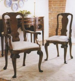 Queen Anne Walnut Carver Dining Chair