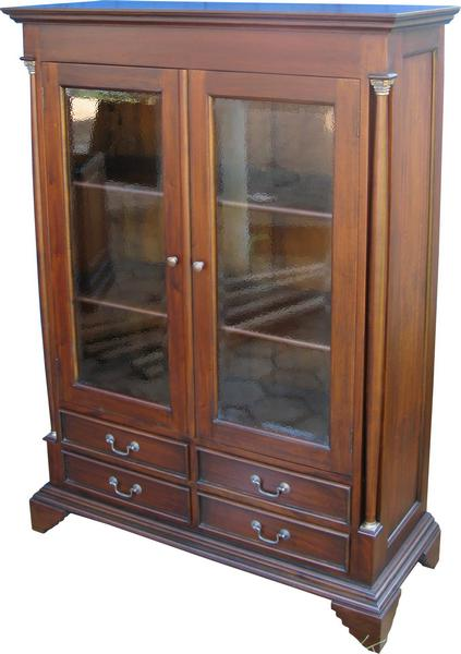 Pillar Glass Display Cabinet with 4 drawers CBN006