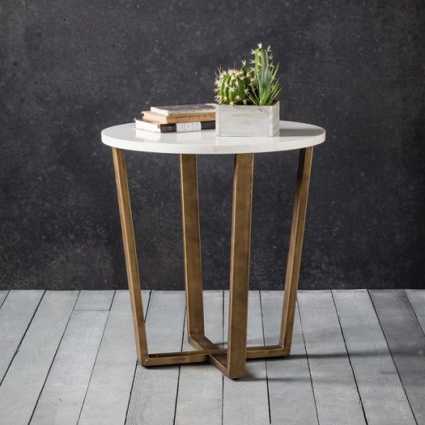 Frank Hudson Cleo Round Side Table with Marble Top