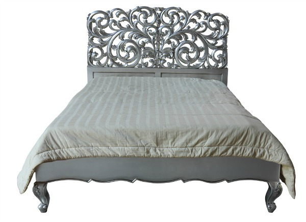 CLEARANCE- La Rochelle French Rococo Bed (Silver) B098S