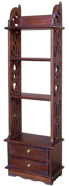 Solid Mahogany 2 Drawer Bookshelf / Wall Rack RCK002