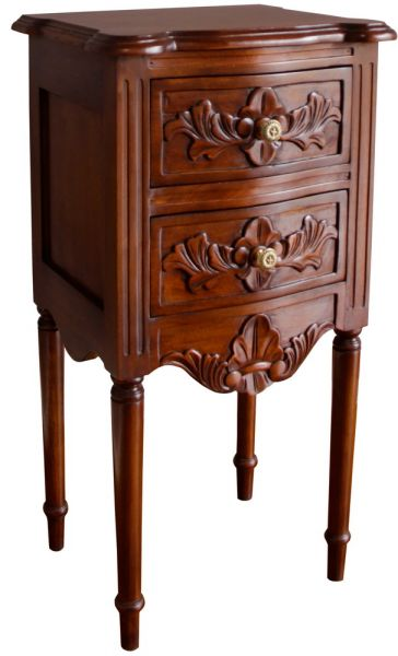French Rococo Bedside with Flute Legs BS039