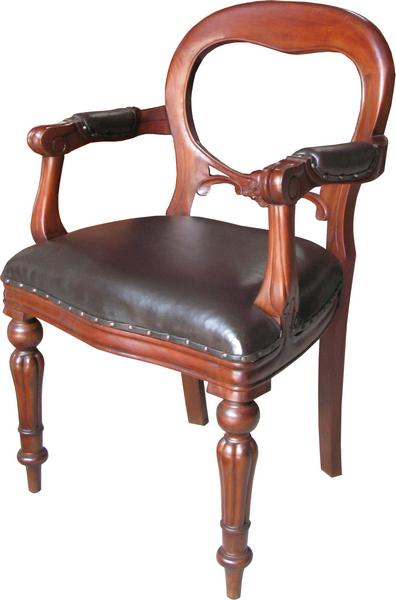 Dutch Office Chair with brown leather CHR012B