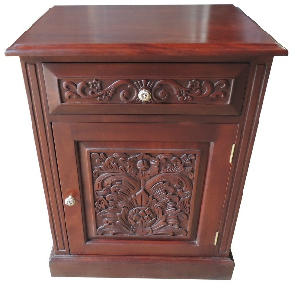 Carved 1 Drawer Bedside Locker BS048