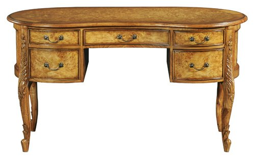 Hampton Walnut French Kidney Dressing Table with wooden top DW018W
