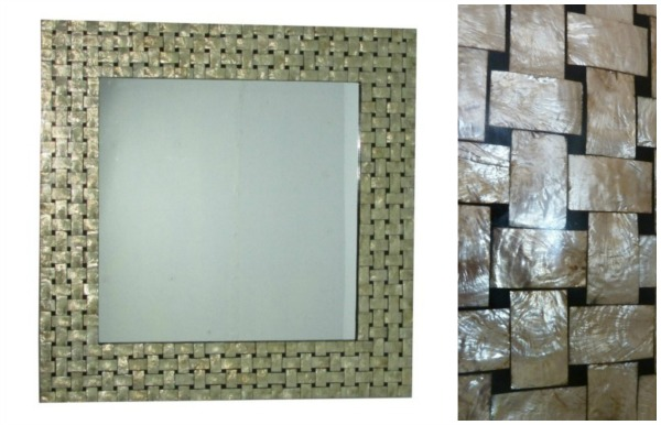 Capiz and Bali Shell Wall Mirror - Gold & Black Basket Weave