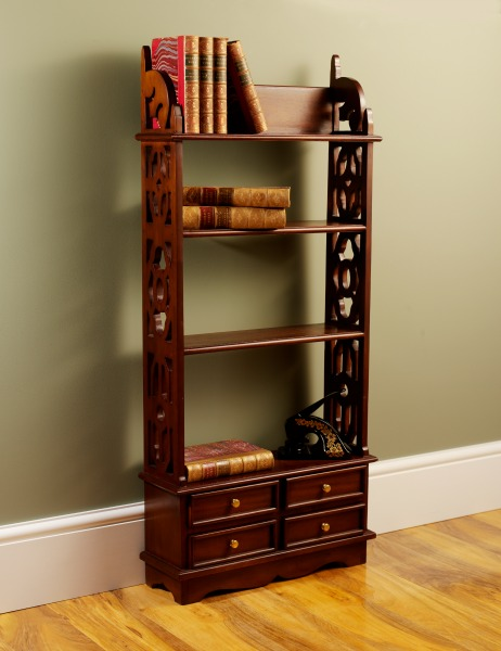 Solid Mahogany 4 Drawer Bookshelf / Wall Rack RCK003