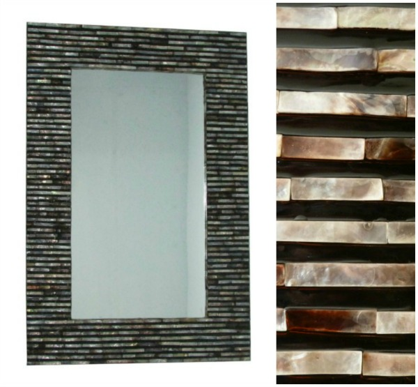 Bali Shell Wall Mirror - rectangular black and amber