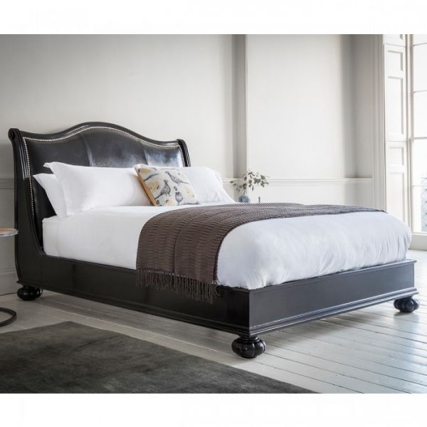 Safari Low End Bed (Ebony with Faux Crocodile Leather) BF501