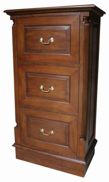 STANDARD 3 Drawer Mahogany Filing Cabinet with brass handles CHT024S