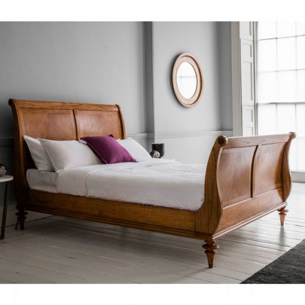 Spire High End Walnut Sleigh Bed BF153