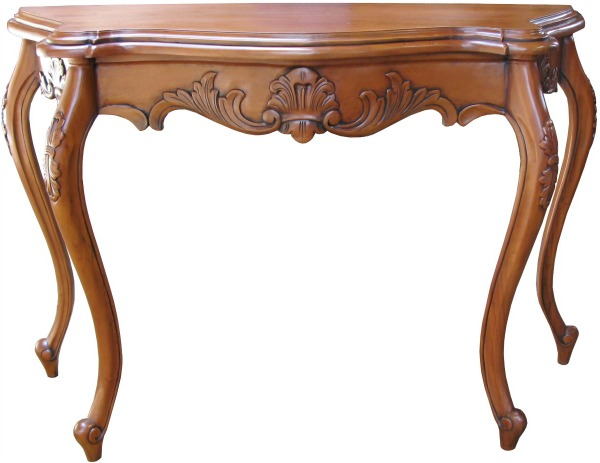 Carved French Serpentine Console Table T035