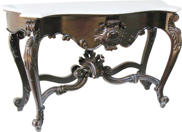 French Shell Console Table with marble top T034