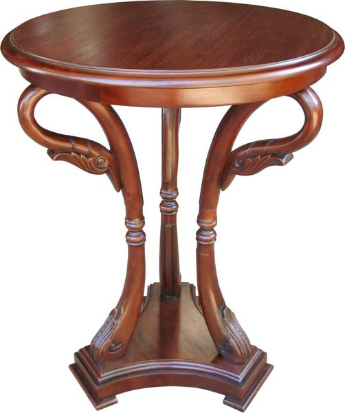 Swan Carved Mahogany Side Table T070