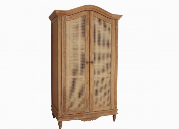 CLEARANCE- Belle French Weathered Wardrobe with Rattan Doors