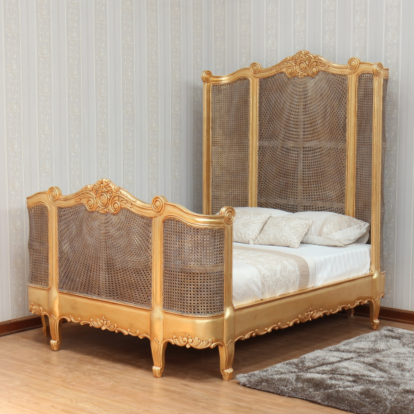 French Carved Rattan Bed with High Headboard B001