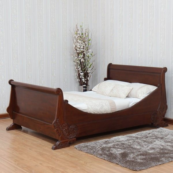 French Carved Sleigh Bed B015