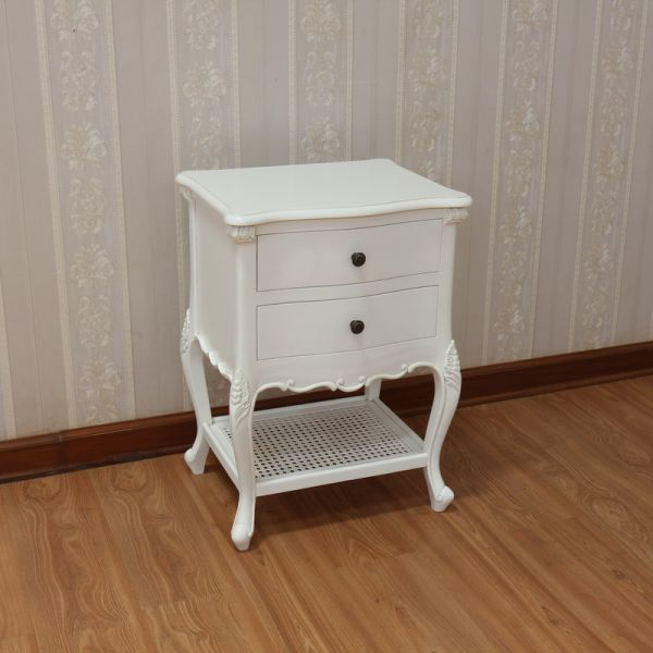 CLEARANCE- French Antique White Normandy Bedside BS033P