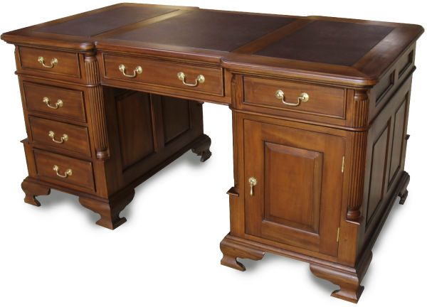 Large Mahogany Partners Desk with Brown Leather Top and Brass Handles DSK001LB