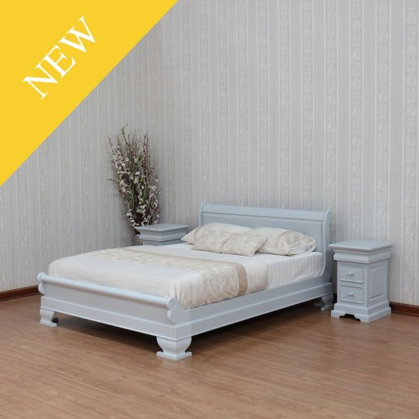 Mahogany painted Light Grey Sleigh Bed with low footboard B010LG