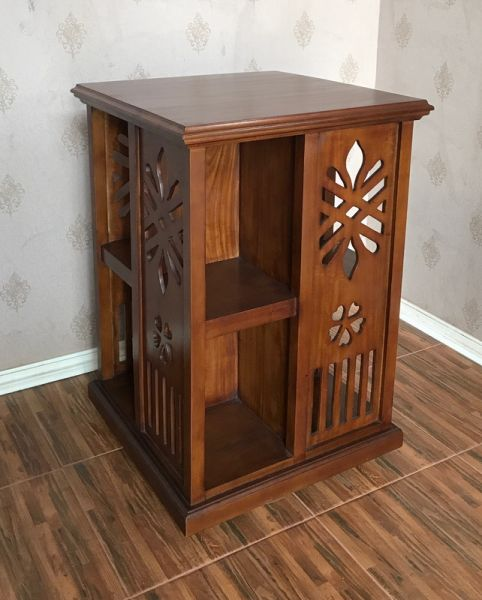 Carved Mahogany Rotating Bookcase BCS038