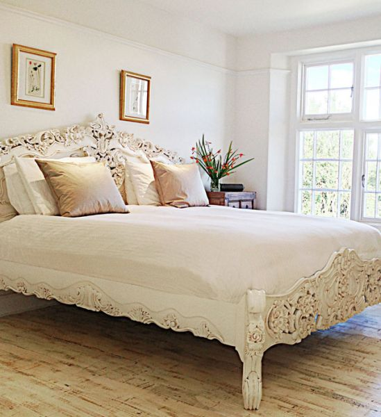 French Rococo Bed (Antique White)