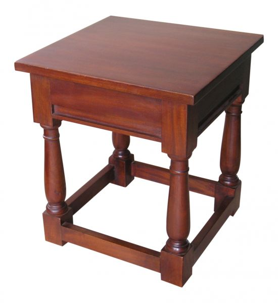 CLEARANCE- Mahogany Sleigh Stool with wooden top STL019