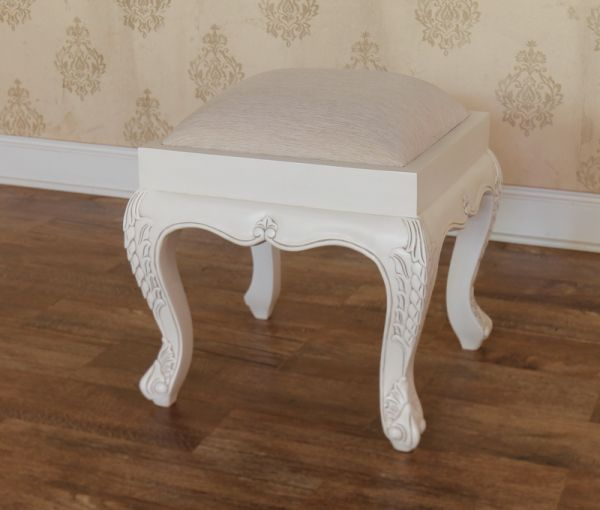 Antique White French Rococo Stool