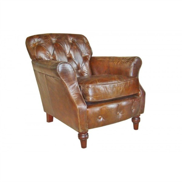 Button Back Leather Chair - TK9381D