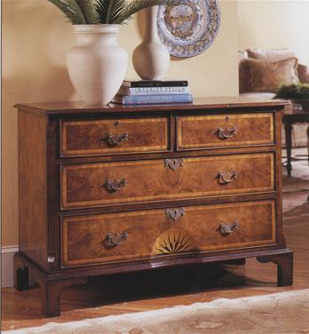 English Walnut Starburst Chest of Drawers